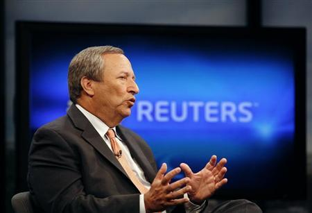 Senior White House economic adviser Lawrence Summers speaks during an interview with Reuters in Washington