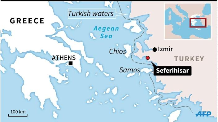 A map of the Aegean Sea, between the Turkish mainland and the Greek islands, locating the latest migrant drowning tragedy. (AFP Photo/Philippe MOUCHE, Thomas SAINT-CRICQ)