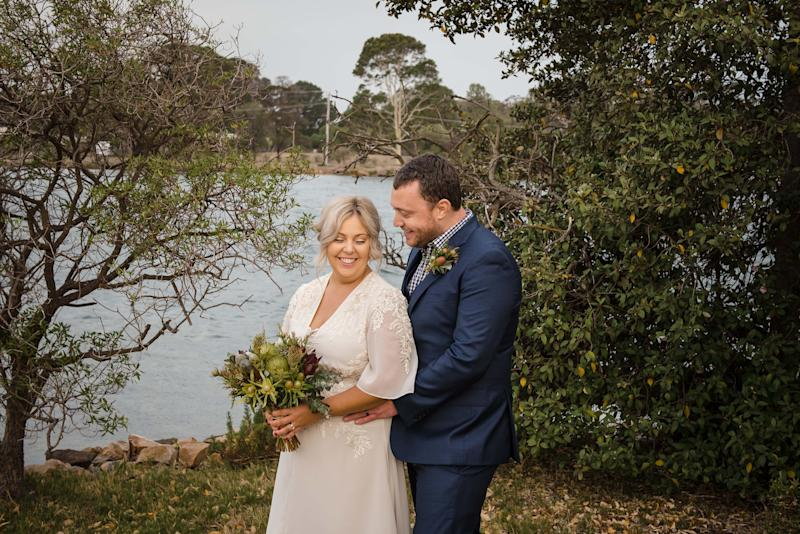 Australian Stephanie Forde and her British husband Chris Forde, both 31, are pictured during the wedding. Source: Rebecca Farley Photography