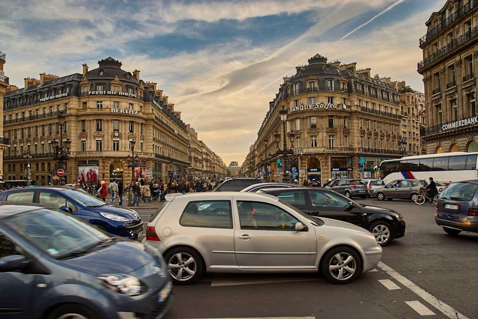Street in Paris with cars