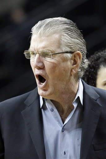 Oregon coach Paul Westhead yells at a referee during a time out in the first half of an NCAA college basketball game against Stanford in Eugene, Ore., Friday, Feb. 1, 2013. (AP Photo/Don Ryan)