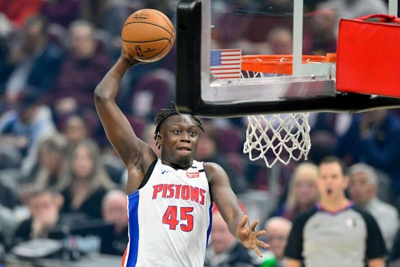 Detroit Pistons forward Sekou Doumbouya dunks against the Cleveland Cavaliers in the first quarter at Rocket Mortgage FieldHouse on Jan. 7, 2020.