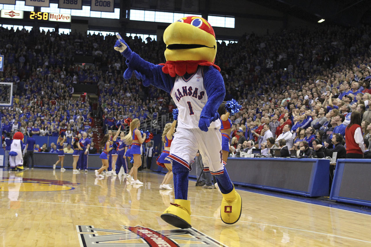 The Kansas Jayhawks mascot pumps up the crowd during a game against the TCU Horned Frogs at Allen Field House on February 23, 2013 in Lawrence, Kansas. (Photo by Ed Zurga/Getty Images)