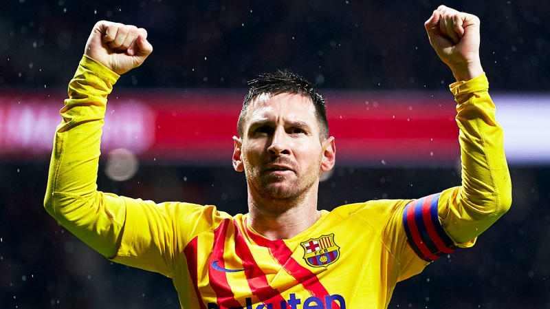 Lionel Messi celebrates an incredible goal against Atletico Madrid .