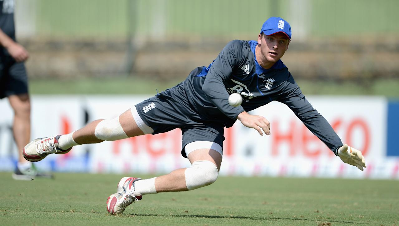 KANDY, SRI LANKA - SEPTEMBER 26:  Jos Buttler of England takes part in a fielding drill during a nets session at Pallekele Cricket Stadium on September 26, 2012 in Kandy, Sri Lanka.  (Photo by Gareth Copley/Getty Images,)