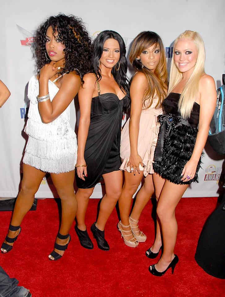 "The Girlicious gals opted to show off their gams in short cocktail dresses and fierce heels at the star-studded event. Barry King/<a href=""http://www.wireimage.com"" target=""new"">WireImage.com</a> - September 24, 2008"