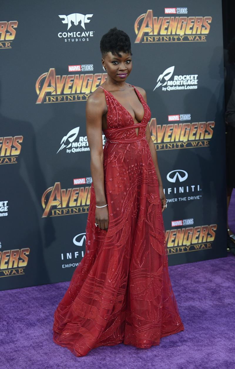 "Danai Gurira arrives at the ""Avengers: Infinity War"" premiere."