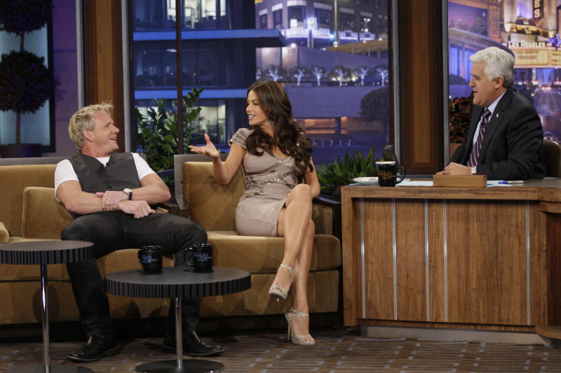 Chef Gordon Ramsay and actress Sofia Vergara during an interview with Jay Leno on August 4, 2010. (Paul Drinkwater/NBC/NBCU Photo Bank via Getty Images)
