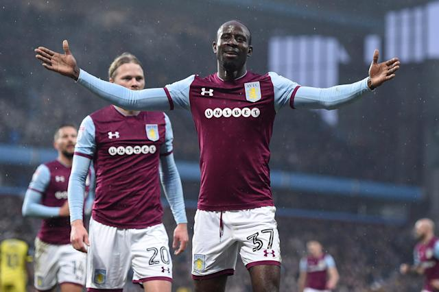 "Soccer Football - Championship - Aston Villa vs Burton Albion - Villa Park, Birmingham, Britain - February 3, 2018 Aston Villa's Albert Adomah celebrates scoring their second goal Action Images/Alan Walter EDITORIAL USE ONLY. No use with unauthorized audio, video, data, fixture lists, club/league logos or ""live"" services. Online in-match use limited to 75 images, no video emulation. No use in betting, games or single club/league/player publications. Please contact your account representative for further details."