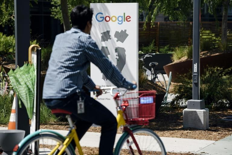 Google workers held a sit-in to protest sexual harassment at the company, on May 1, 2019 at the tech giant's headquarters in Silicon Valley