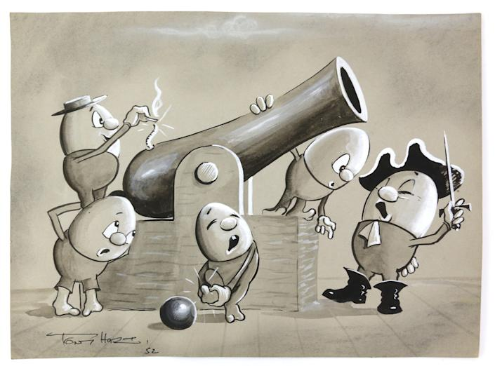 Egg pirates firing a cannon on an ink and watercolour signed by Tony Hart