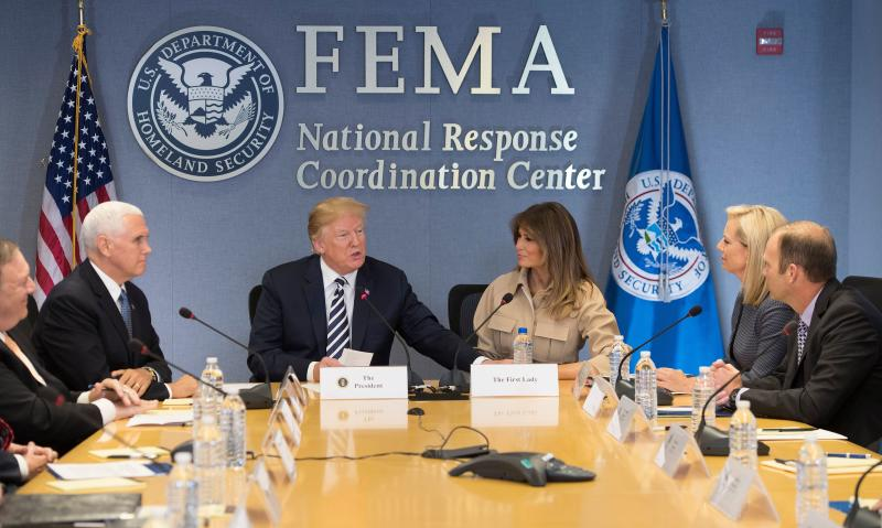 President Trump with Mike Pence and Melania Trump