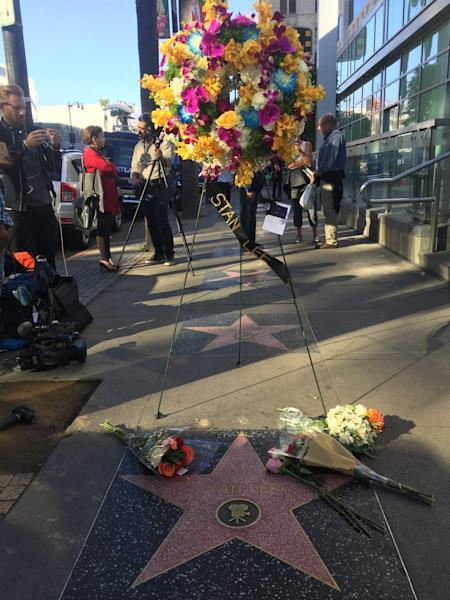 Flowers were placed on the Walk of Fame star of Stan Lee (PA)