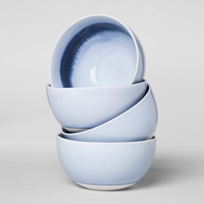 """Upgrade your quickbreakfast routine with these <a href=""""https://www.target.com/p/valetta-porcelain-4pc-cereal-bowls-6oz-blue-project-62-153/-/A-52408581#lnk=newtab"""" target=""""_blank"""">cute cereal bowls</a>."""