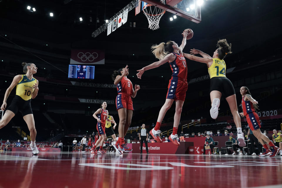 Australia's Marianna Tolo (14) is blocked by United States's Breanna Stewart (10) during a women's basketball quarterfinal game at the 2020 Summer Olympics, Wednesday, Aug. 4, 2021, in Saitama, Japan. (AP Photo/Eric Gay)