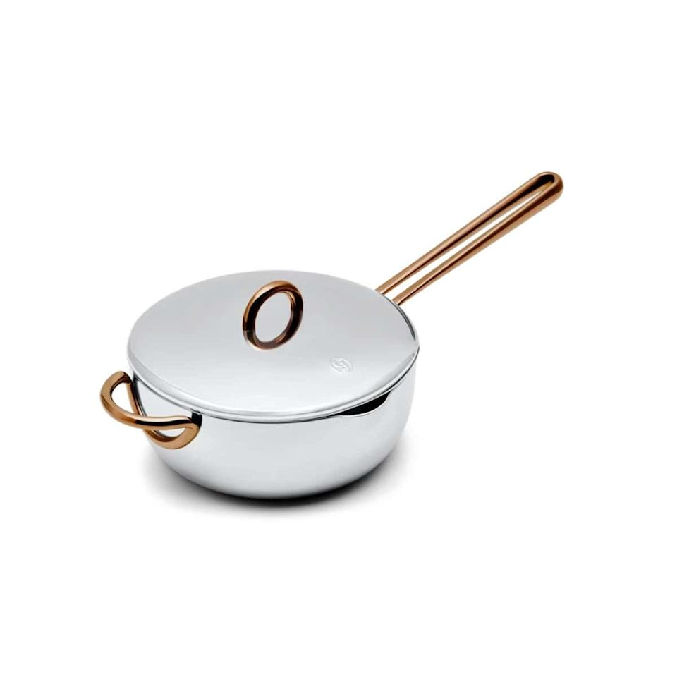 """Trying to nudge your man in the right direction—into the kitchen? This sleek and beautiful pan, with its curved sides, rivetless handles, and small pouring spout, will assist in those late-night hodgepodges that turn out tasting pretty good. $85, Great Jones. <a href=""""https://greatjonesgoods.com/products/saucy"""">Get it now!</a>"""