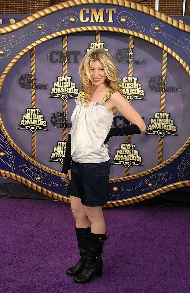 """We're not quite sure what singer Emily West was going for when she paired clunky black boots with fingerless opera gloves, but whatever it was missed the mark. Jon Kopaloff/<a href=""""http://filmmagic.com/"""" target=""""new"""">FilmMagic.com</a> - April 14, 2008"""