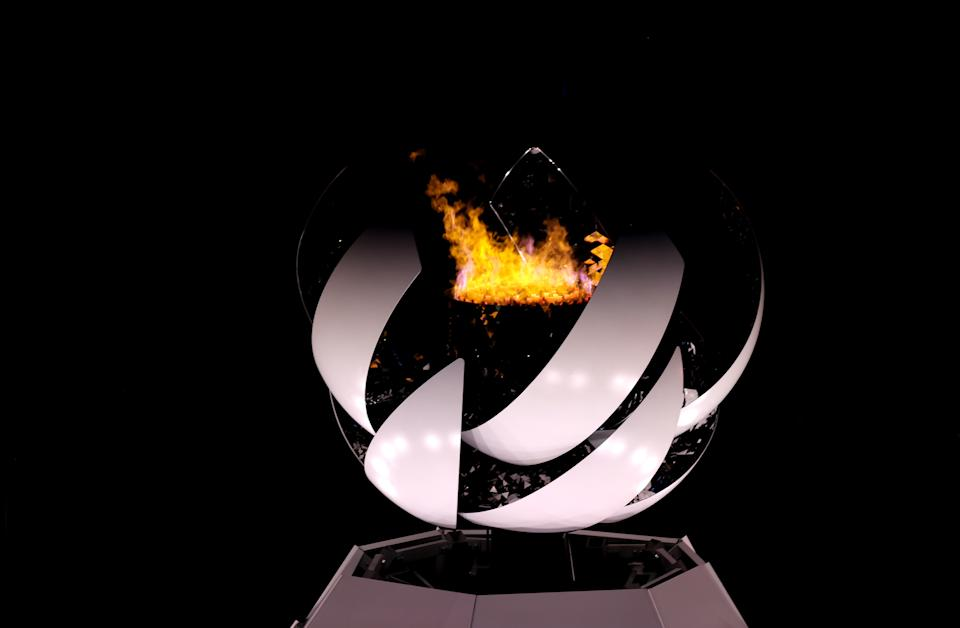 TOKYO, JAPAN - SEPTEMBER 05: The Paralympic Flame is seen during the Closing Ceremony on day 12 of the Tokyo 2020 Paralympic Games at Olympic Stadium on September 05, 2021 in Tokyo, Japan. (Photo by Alex Pantling/Getty Images)