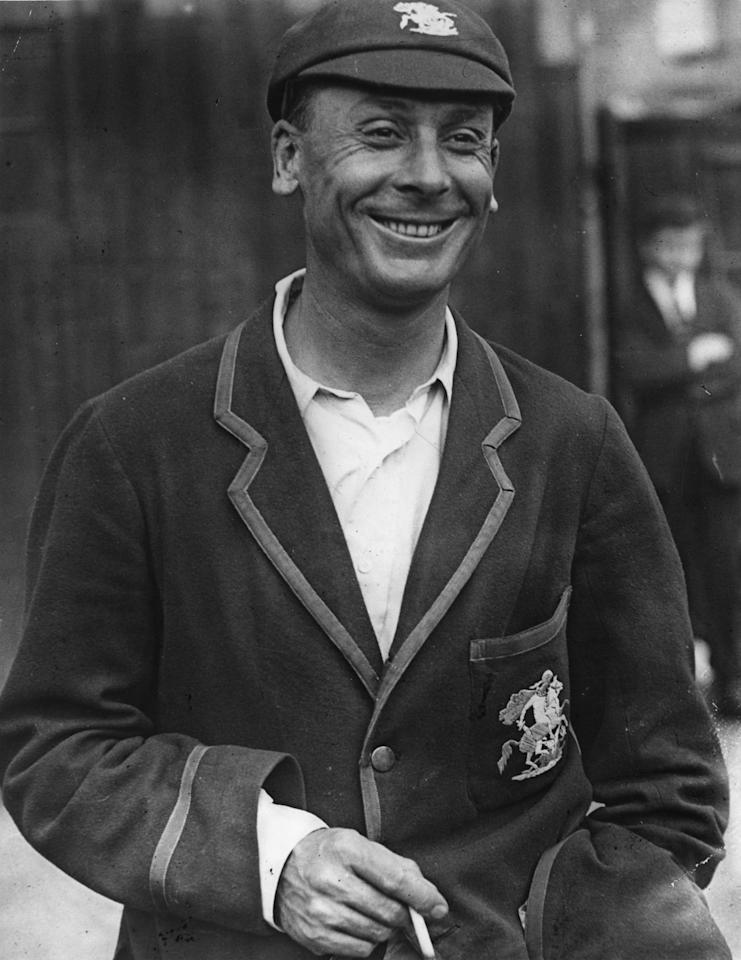 20th July 1925:  Cricketer Sir John Berry ('Jack') Hobbs (1882 - 1963), smiling after achieving 2000 runs in a season. Hobbs was  one of England's greatest batsmen and the first English cricketer to be knighted.  (Photo by E. Bacon/Topical Press Agency/Getty Images)