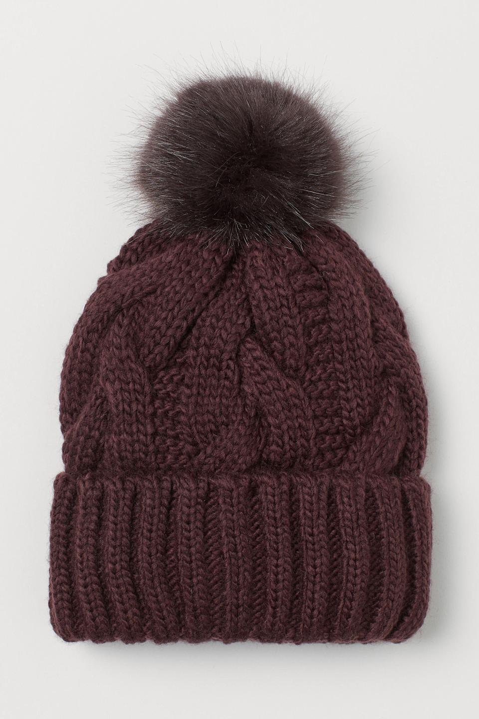 """<p><strong>H&M</strong></p><p>hm.com</p><p><strong>$12.99</strong></p><p><a href=""""https://go.redirectingat.com?id=74968X1596630&url=https%3A%2F%2Fwww2.hm.com%2Fen_us%2Fproductpage.0756099021.html&sref=https%3A%2F%2Fwww.countryliving.com%2Fshopping%2Fg37003543%2Ffall-hats-women%2F"""" rel=""""nofollow noopener"""" target=""""_blank"""" data-ylk=""""slk:SHOP NOW"""" class=""""link rapid-noclick-resp"""">SHOP NOW</a></p><p>For the days during the fall when the temperature drops, there's nothing like a knit beanie to help keep you warm. Shown here in dark plum purple, this knit hat is also offered in beige, white, and black. </p>"""