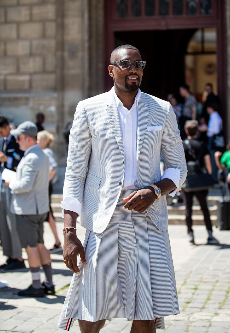 Serge Ibaka outside the Thom Browne Menswear Spring/Summer 2020 show on June 22, 2019 in Paris, France. (Photo: Christian Vierig via Getty Images)