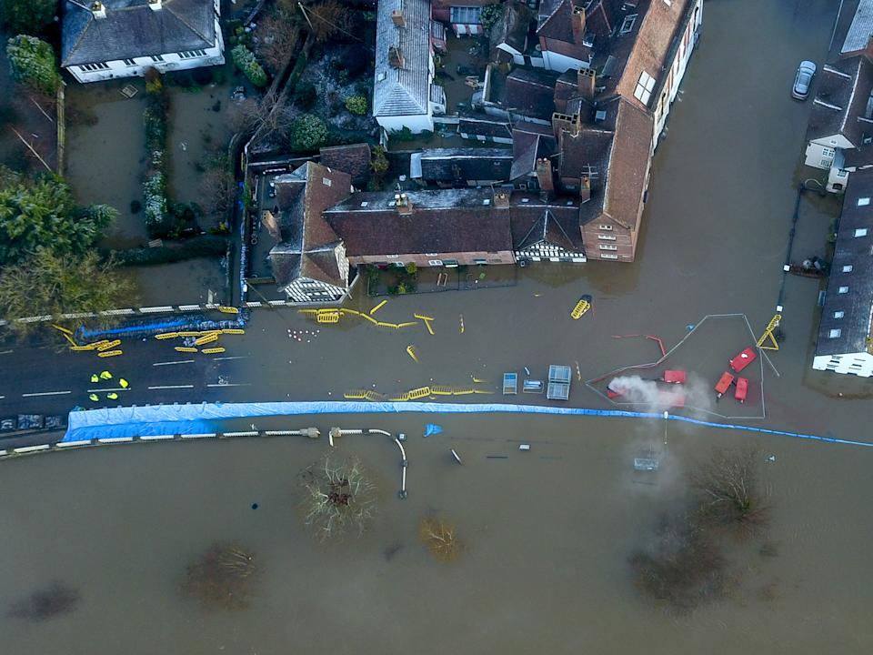 Aerial view of flooding along the river Severn at Bewdley where despite the efforts by the environment agency. (SWNS)