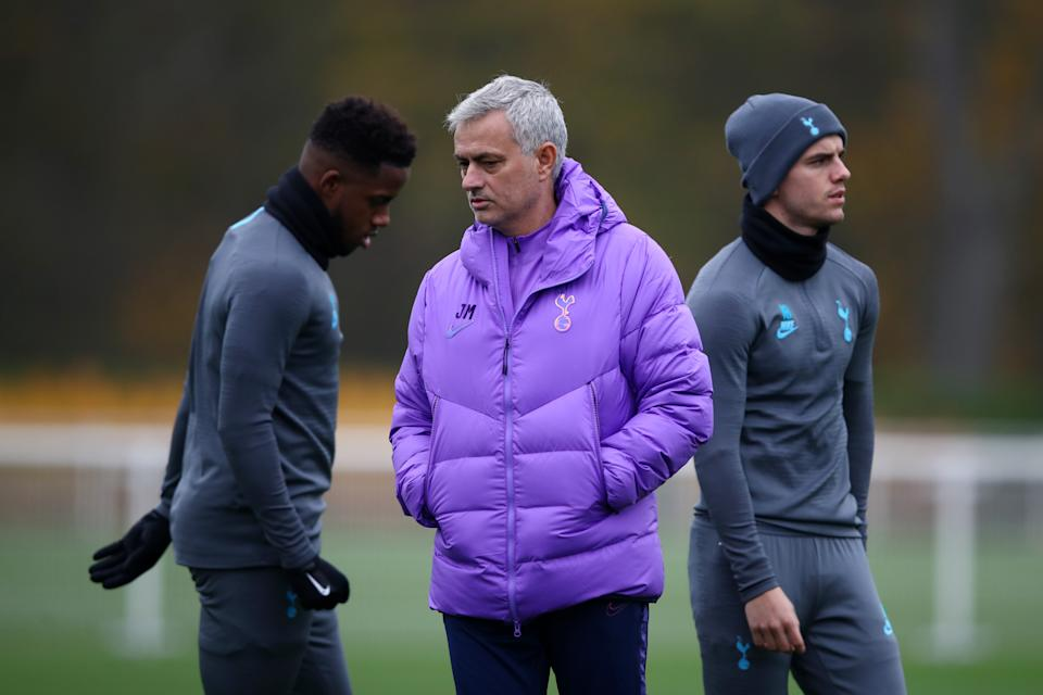 ENFIELD, ENGLAND - NOVEMBER 25: Jose Mourinho, Manager of Tottenham Hotspur speaks to Ryan Sessegnon of Tottenham Hotspur during a training session ahead of their UEFA Champions League group B match against Olympiacos FC at Hotspur Way training ground on November 25, 2019 in Enfield, England. (Photo by Julian Finney/Getty Images)