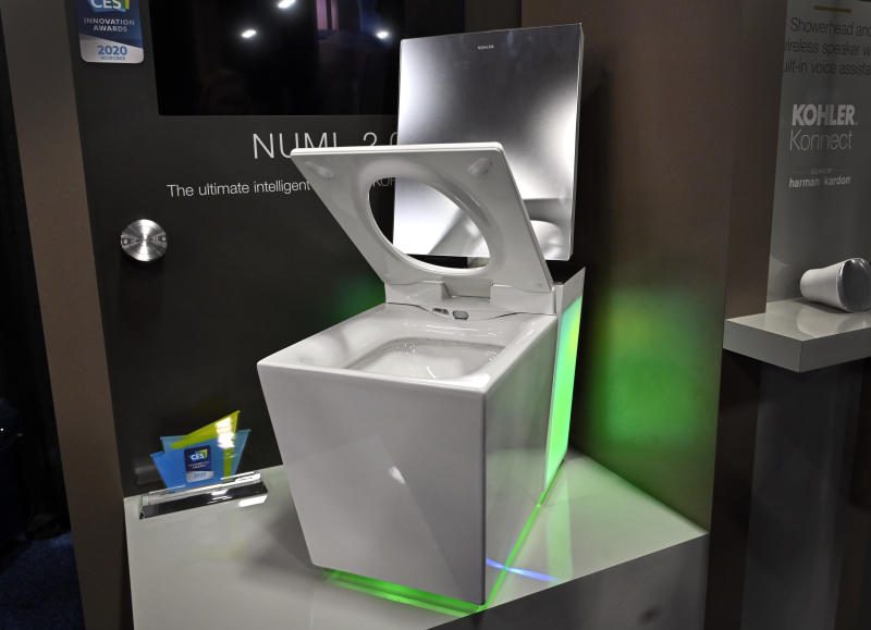 LAS VEGAS, NEVADA - JANUARY 05: The Kohler Numi 2.0 smart toilet is displayed during a press event for CES 2020 at the Mandalay Bay Convention Center on January 5, 2020 in Las Vegas, Nevada. The USD 10,000 toilet features LED lights, automatic seat, bidet and is scheduled to be available for purchase later this year. CES, the world's largest annual consumer technology trade show, runs from January 7-10 and features about 4,500 exhibitors showing off their latest products and services to more than 170,000 attendees. (Photo by David Becker/Getty Images)