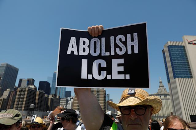 "<p>A protest image is carried by a demonstrator as people cross the Brooklyn Bridge during ""Keep Families Together"" march to protest Trump administration's immigration policy in New York, June 30, 2018. (Photo: Shannon Stapleton/Reuters) </p>"