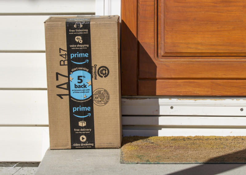 CALDWELL, IDAHO - NOVEMBER 4, 2017: Amazon package that was just delivered to an amazon prime member