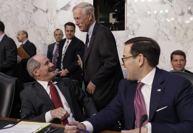 "<p>Senators James Risch (L), Angus King (C) and Marco Rubio laugh together before the start of Former FBI Director James Comey's testimony before a Senate Intelligence Committee hearing on ""Russian Federation Efforts to Interfere in the 2016 U.S. Elections"" on Capitol Hill in Washington, June 8, 2017. (Photo: Jim Bourg/Reuters) </p>"