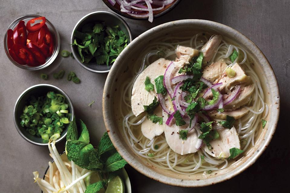 """Easier to make than the beef version, chicken pho requires fewer ingredients and takes less finesse for superlative results. <a href=""""https://www.epicurious.com/recipes/food/views/classic-chicken-pho-ph-ga?mbid=synd_yahoo_rss"""" rel=""""nofollow noopener"""" target=""""_blank"""" data-ylk=""""slk:See recipe."""" class=""""link rapid-noclick-resp"""">See recipe.</a>"""
