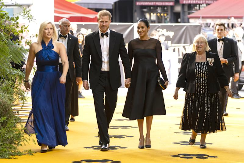"LONDON, ENGLAND - JULY 14: Prince Harry, Duke of Sussex and Meghan, Duchess of Sussex arrive to attend the European Premiere of Disney's ""The Lion King"" at Odeon Luxe Leicester Square on July 14, 2019 in London, England. (Photo by Niklas Halle'n-WPA Pool/Getty Images)"