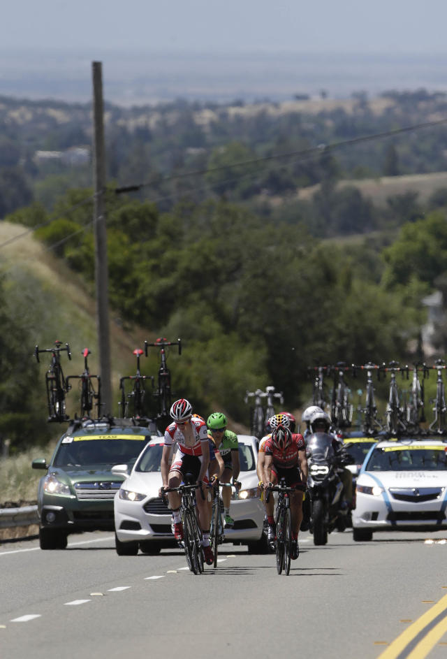 The leaders of Stage I of the Tour of California cycling race, climb Indian Hill Road after leaving Newcastle Calif., Sunday, May 11, 2014.(AP Photo/Rich Pedroncelli)