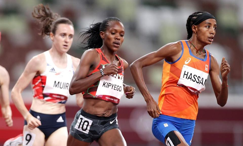 Sifan Hassan of the Netherlands, Faith Kipyegon of Kenya, and Laura Muir of Britain in the 1500.