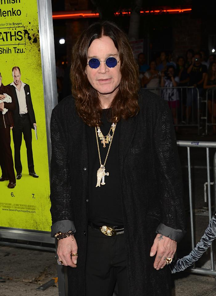 WESTWOOD, CA - OCTOBER 01:  Musician Ozzy Osbourne arrives at the premiere of CBS Films' 'Seven Psychopaths' at Mann Bruin Theatre on October 1, 2012 in Westwood, California.  (Photo by Jason Merritt/Getty Images)