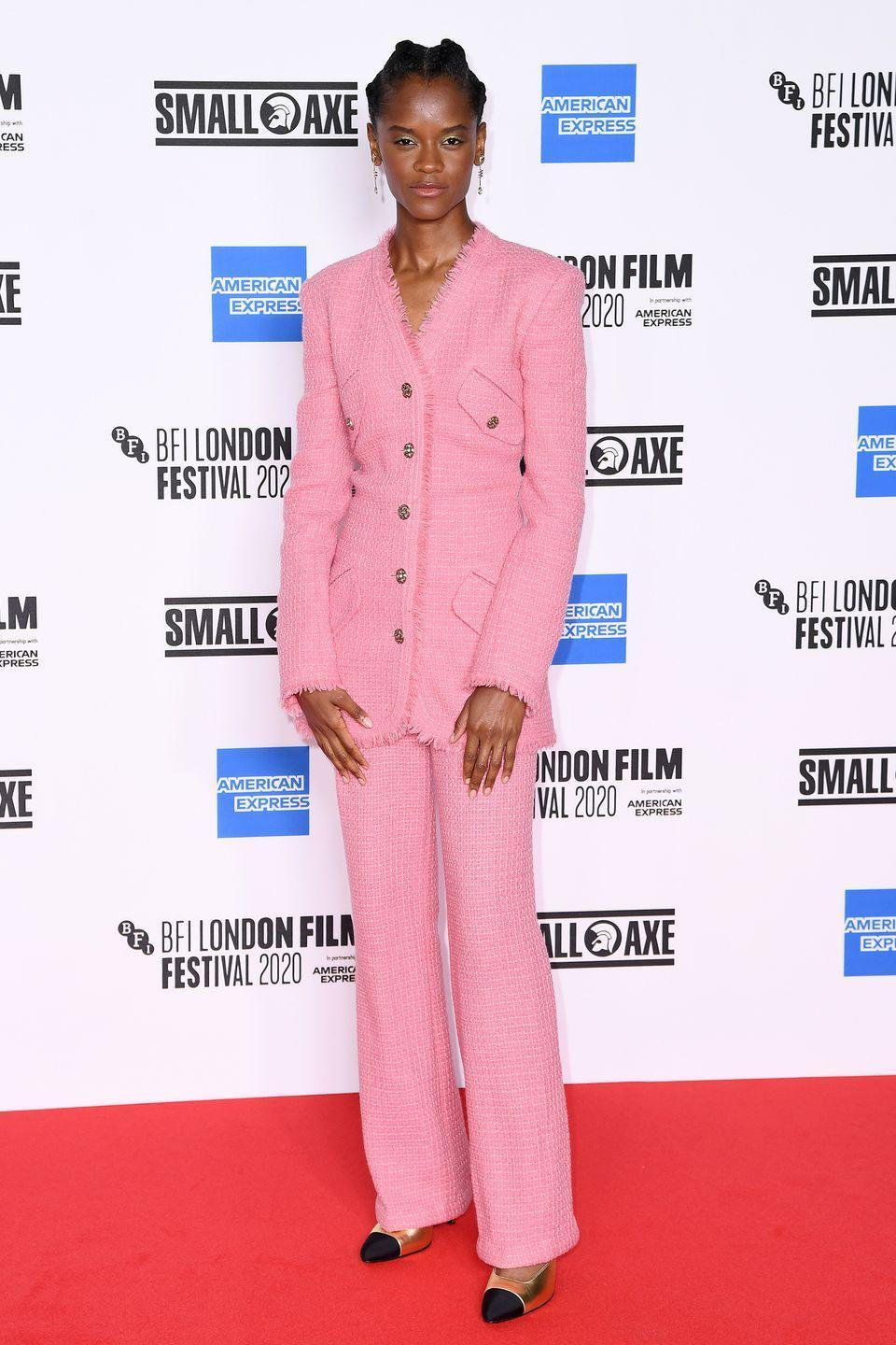 <p><strong>7 October </strong>Letitia Wright made a statement on the red carpet in a pink Chanel suit and Jessica McCormack earrings, for the Mangrove premiere during the 64th BFI London Film Festival. </p>