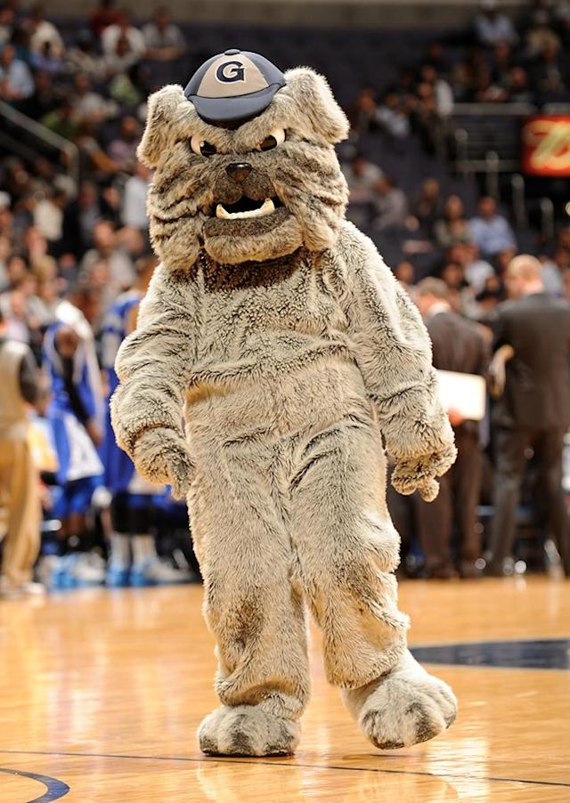 The Georgetown Hoyas mascot looks on during a college basketball game against the Seton Hall Pirates on January 30, 2013 at Verizon Center in Washington, DC. (Photo by Mitchell Layton/Getty Images)