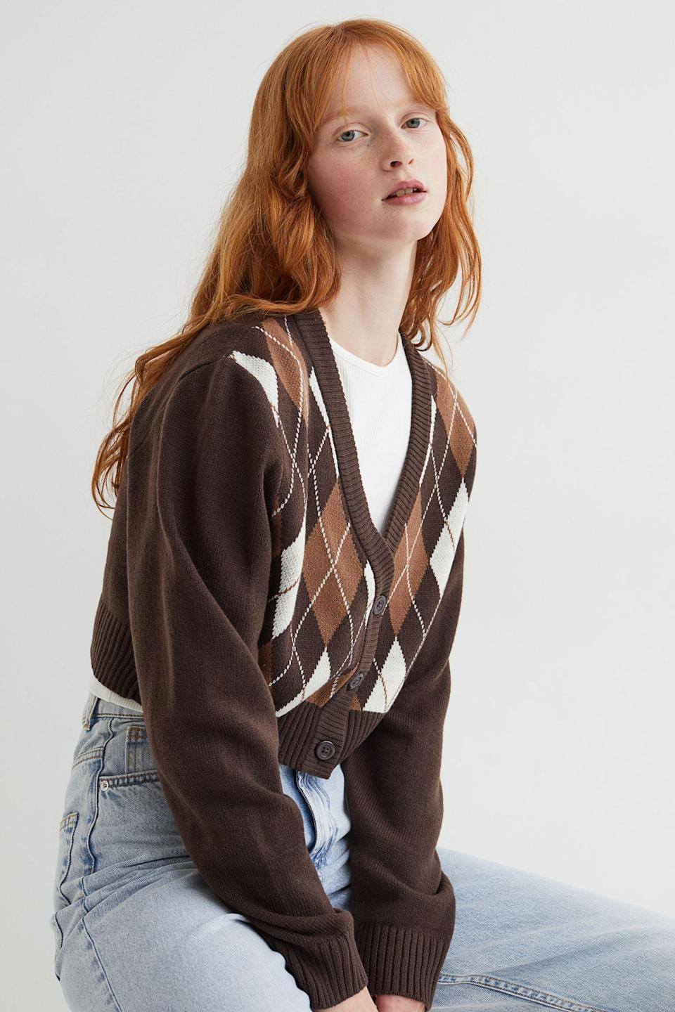 <p>This <span>H&amp;M Short Cardigan</span> ($18) will easily join your lineup of everyday pieces, it's so wearable and fun. Dial up the preppy vibes by pairing it with a tennis skirt and some Keds sneakers.</p>