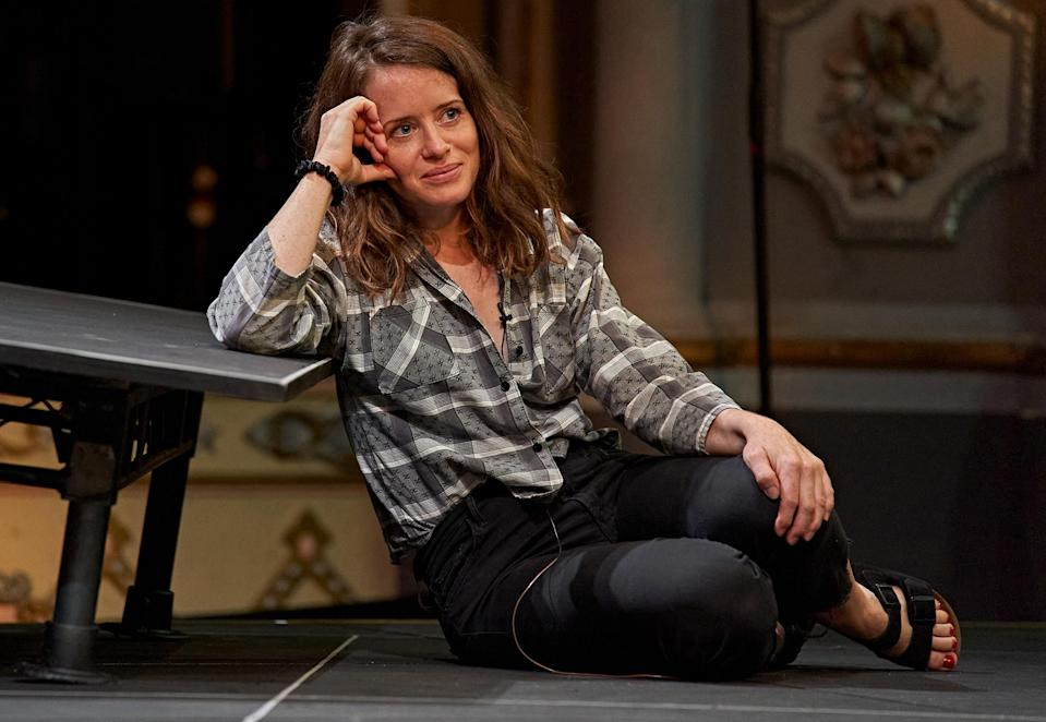 <p>Claire Foy takes part in a socially distanced dress rehearsal of <i>Lungs</i> at The Old Vic Theatre on Wednesday in London. The live performances are scheduled to take place via Zoom beginning June 26. </p>