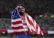 Noah Lyles, of United States, bronze, reacts after the final of the men's 200-meters at the 2020 Summer Olympics, Wednesday, Aug. 4, 2021, in Tokyo, Japan. (AP Photo/Francisco Seco)