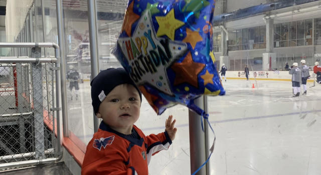 Alex Ovechkin's one-year-old son, Sergei, stole the show during the 34-year-old's big day. (Twitter//@Capitals)