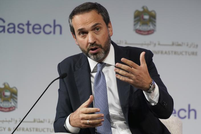 Turkish Deputy Energy Minister Alparslan Bayraktar gestures during a discussion on stage at the Gastech 2021 conference in Dubai, United Arab Emirates, Tuesday, Sept. 21, 2021. Energy officials from Qatar and Turkey, long-standing foes of the United Arab Emirates, descended on Dubai along with hundreds of other executives on Tuesday, flocking to the largest gas expo in the world and the industry's first in-person conference since the pandemic began. (AP Photo/Jon Gambrell)