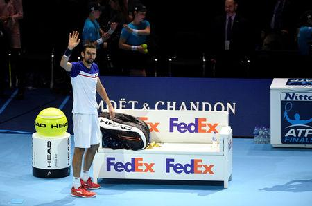 Tennis - ATP World Tour Finals - The O2 Arena, London, Britain - November 14, 2017   Croatia's Marin Cilic waves to the crowd after losing his group stage match against USA's Jack Sock   Action Images via Reuters/Tony O'Brien