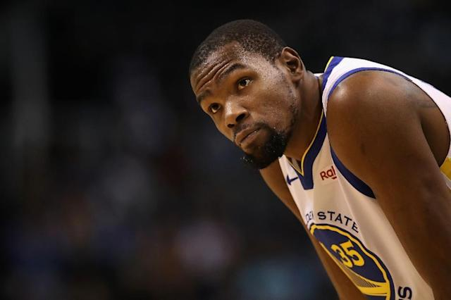 Golden State star Kevin Durant scored 39 points as the Warriors rallied for a 120-118 NBA victory over the Miami Heat (AFP Photo/Christian Petersen)