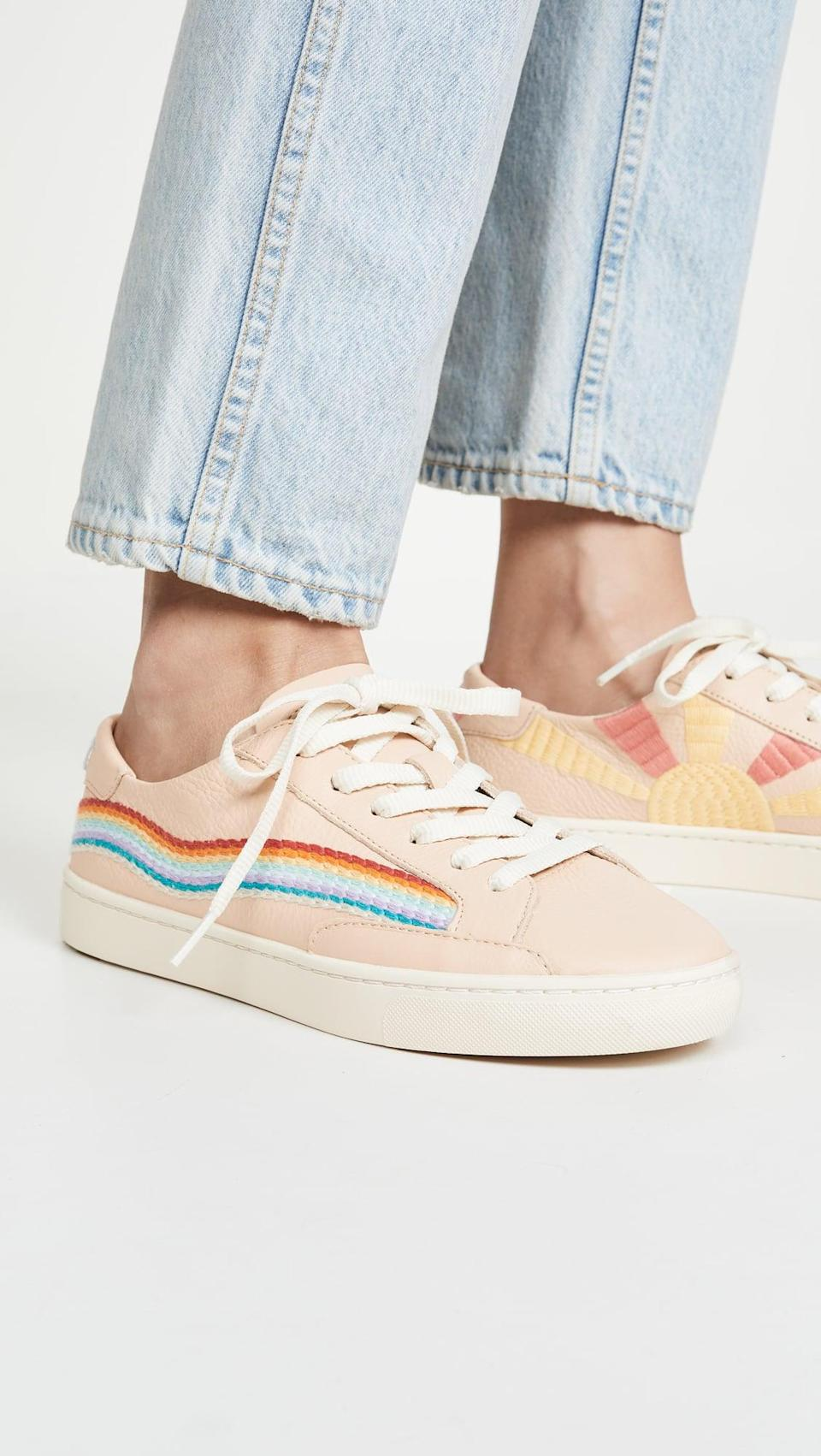 "<p><a href=""https://www.popsugar.com/buy/Soludos-Rainbow-Wave-Sneakers-561554?p_name=Soludos%20Rainbow%20Wave%20Sneakers&retailer=shopbop.com&pid=561554&price=139&evar1=fab%3Aus&evar9=44311634&evar98=https%3A%2F%2Fwww.popsugar.com%2Ffashion%2Fphoto-gallery%2F44311634%2Fimage%2F47375139%2FSoludos-Rainbow-Wave-Sneakers&list1=shopping%2Cshoes%2Csneakers%2Choliday%2Cgift%20guide%2Ceditors%20pick%2Cfashion%20gifts%2Cgifts%20for%20women&prop13=api&pdata=1"" class=""link rapid-noclick-resp"" rel=""nofollow noopener"" target=""_blank"" data-ylk=""slk:Soludos Rainbow Wave Sneakers"">Soludos Rainbow Wave Sneakers</a> ($139)</p> <p>""How can you resist these embroidered sneakers? They are just so happy."" - Macy Cate Williams, editor, Shop and Must Have</p>"