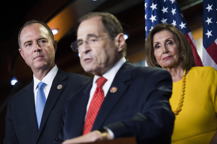 House Intelligence Committee Chairman Adam Schiff, left, Judiciary Committee Chairman Jerry Nadler and Speaker Nancy Pelosi at a news conference in July. (Photo: Tom Williams/CQ Roll Call via Getty Images)