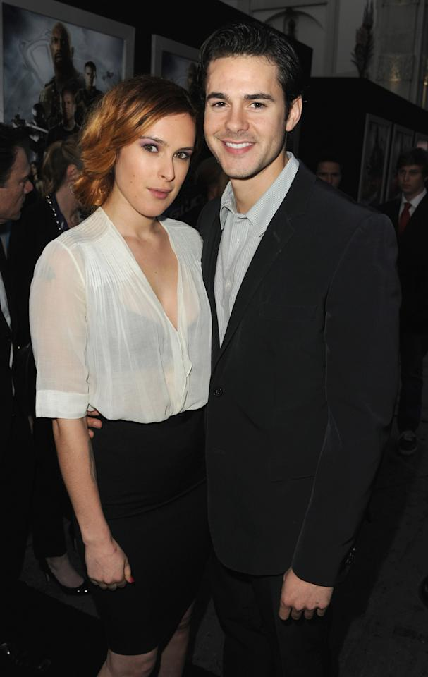 "HOLLYWOOD, CA - MARCH 28:  Actress Rumer Willis and actor Jayson Blair attend the premiere of Paramount Pictures' ""G.I. Joe:Retaliation"" at TCL Chinese Theatre on March 28, 2013 in Hollywood, California.  (Photo by Kevin Winter/Getty Images)"