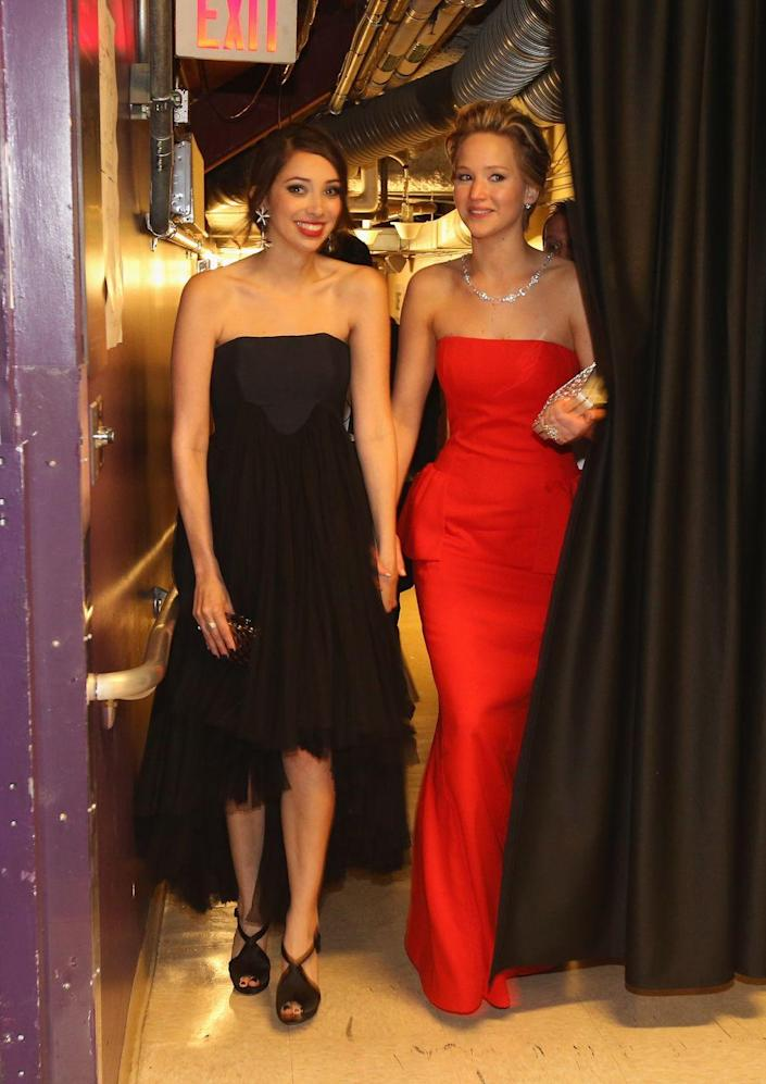 """<p>Laura was Jennifer's date to the 2014 Oscars, where she was nominated for her role in <em>American Hustle</em>. She documented her plus-one experience <a href=""""https://myspace.com/article/2014/03/04/feature-i-went-to-the-oscars-with-my-best-friend-and-then-i-went-viral"""" rel=""""nofollow noopener"""" target=""""_blank"""" data-ylk=""""slk:on MySpace"""" class=""""link rapid-noclick-resp"""">on MySpace</a>, an evening she calls """"completely exhausting, overwhelming and surreal."""" But Laura isn't the only one to gain something from her friendship with the A-list actress. According to a <em><a href=""""https://pagesix.com/2018/06/05/jennifer-lawrence-quietly-dating-new-york-art-gallerist/"""" rel=""""nofollow noopener"""" target=""""_blank"""" data-ylk=""""slk:Page Six"""" class=""""link rapid-noclick-resp"""">Page Six</a> </em>source, she introduced Jennifer to her <a href=""""https://www.elle.com/culture/celebrities/a26104265/who-is-cooke-maroney-jennifer-lawrence-fiance/"""" rel=""""nofollow noopener"""" target=""""_blank"""" data-ylk=""""slk:now-husband Cooke Maroney"""" class=""""link rapid-noclick-resp"""">now-husband Cooke Maroney</a>.<br></p>"""