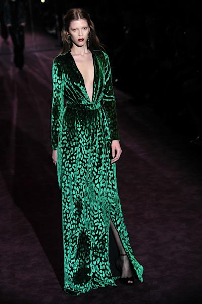 A velvet gown at the Gucci Fall 2012 presentation